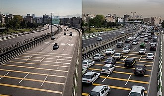 The left image shows Tehran on a day-off during the Nowruz holidays, and the right one shows it on a working day. Tehran in a holiday and work day 04.jpg