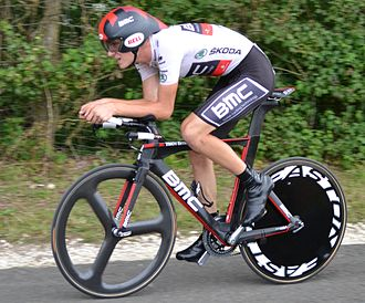 Tejay van Garderen - Van Garderen during the nineteenth stage's individual time trial, at the 2012 Tour de France, wearing the White Jersey.