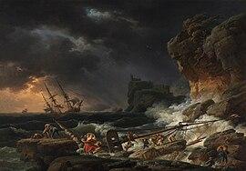 Claude Joseph Vernet: Tempête de mer avec épaves de navires.  Les «sublimes horreurs» de Vernet plurent beaucoup au public dans la deuxième moitié du XVIIIesiècle (Ancienne Pinacothèque de Munich).