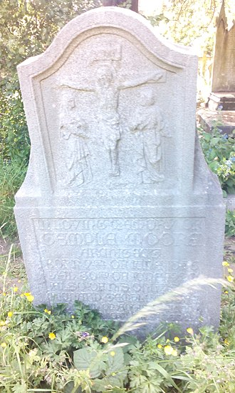 Temple Moore - Moore's tombstone, also commemorating his son Richard Moore, lost in 1918 in the sinking of the RMS Leinster.