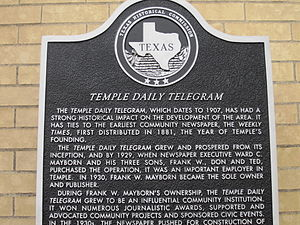 Temple Daily Telegram - Texas Historical Commission marker for Temple Daily Telegram