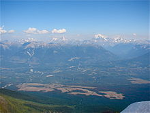 View of Tete Jaune Cache from Summit of Mica Mountain, note Mount Robson in background