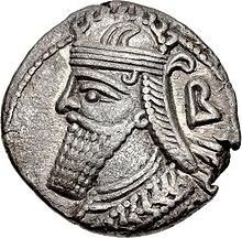 Tetradrachm van Vologases IV, geslagen in Seleucia in 153.jpg
