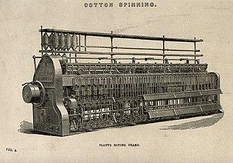 Cotton-spinning machinery - Platt's roving frame, c. 1858.