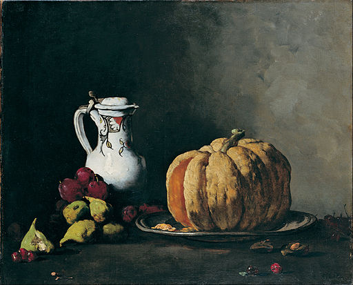 Théodule-Augustin Ribot - Still Life with Pumpkin, Plums, Cherries, Figs and Jug - Google Art Project