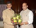 The Andhra Pradesh Chief Minister-designate, Shri N. Chandrababu Naidu calling on the Union Home Minister, Shri Rajnath Singh, in New Delhi on May 30, 2014.jpg