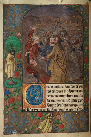 The Betrayal Peter raises his sword; Judas hangs himself