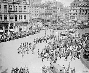 British Army of the Rhine - Two tanks passing through Cologne for inspection by the VI Corps Commander, General Aylmer Haldane, June 1919