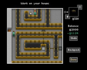 The Castle Doctrine - The player character reorganizes his house to protect his vault. His wife and children are visible in the top-center of the screen.