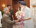 The Chief Minister of Punjab, Shri Parkash Singh Badal meeting the President, Shri Pranab Mukherjee, at Rashtrapati Bhavan, in New Delhi on April 18, 2013.jpg