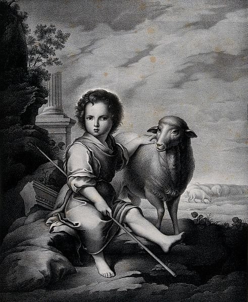 File:The Christ Child as the Good Shepherd. Lithograph by J. Abri Wellcome V0034043.jpg