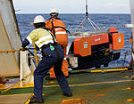 The Dragon Prince deep tow fish is recovered onto the back deck, as Fugro Discovery completes the first stage of the search for the missing Malaysia airlines flight MH370.jpg