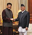 The Minister of State (Independent Charge) for Power, Coal and New and Renewable Energy, Shri Piyush Goyal calling on the Prime Minister of Nepal, Shri K.P. Sharma Oli, in New Delhi on February 22, 2016.jpg