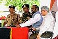 The Minister of State for Home Affairs, Shri Hansraj Gangaram Ahir addressing the Border Security Force (BSF) troops, during his visit to the Ramgarh sector along Indo-Pak International Border, in Jammu and Kashmir (2).jpg