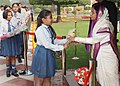 "The President, Smt. Pratibha Devisingh Patil receiving greetings from various school students, on the occasion of ""Diwali"", at Rashtrapati Bhavan, in New Delhi on November 05, 2010.jpg"