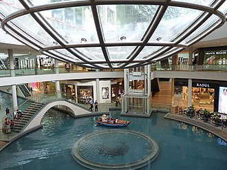 Marina Bay Sands - The Rain Oculus above the shopping mall canal was designed by Ned Kahn