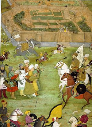 Kandahar - A miniature from Padshahnama depicting the surrender of the Shi'a Safavid garrison at what is now Old Kandahar in 1638 to the Mughal army of Shah Jahan commanded by Kilij Khan.