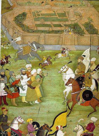 Kandahar Province - A miniature from Padshahnama depicting the surrender of the Shi'a Safavid at what is now Old Kandahar in 1638 to the Mughal army of Shah Jahan commanded by Kilij Khan.