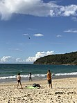 The Westpac Lifesaver Rescue Helicopter over the beach, Noosa Heads, Queensland.jpg