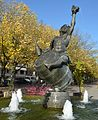 "The ancient Greek Dod ""Bachus"" make winedrinking a big party^ Here its statue at Remich Luxembourg - panoramio.jpg"