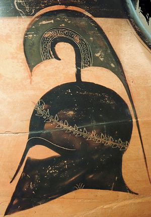 Classical Greece - A soldier's helmet on black-figure pottery