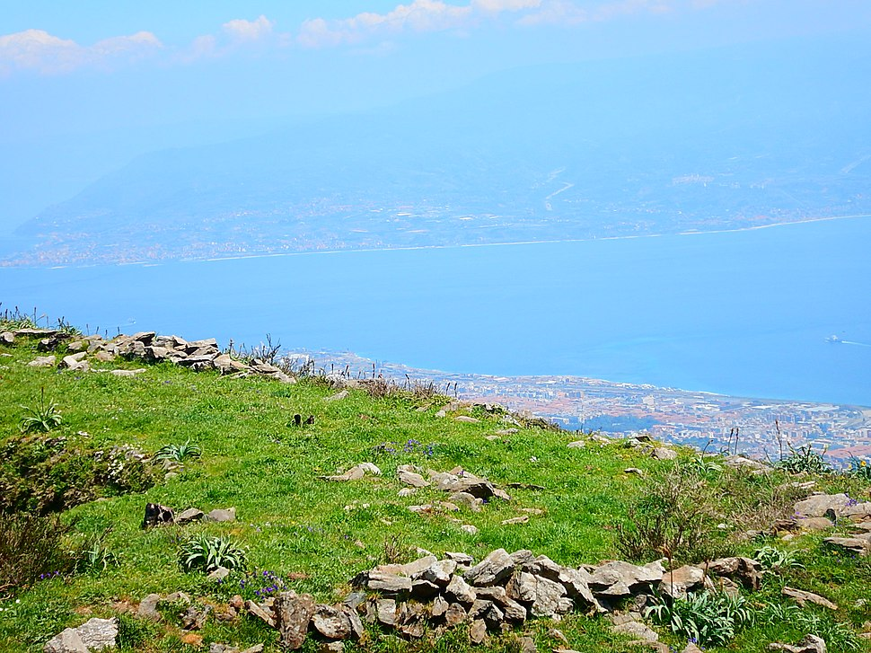 The natural terrace of Mount Dinnammare on the Strait of Messina, sicily