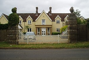Farnham, Dorset - The old museum building at Crossways, where Pitt Rivers housed his personal collection. The building is now private residences.
