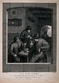 Three men indoors round an inn table with drink, tobacco pip Wellcome V0019024.jpg