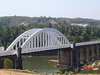 Shimoga district - Bridge on the National Highway NH-13 across the river Tunga in Tirthahalli, Shimoga district.