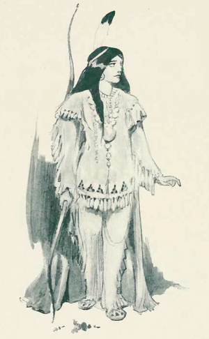 Characters of Peter Pan - 1907 illustration of Tiger Lily by Oliver Herford.