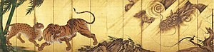 Folding screen - Pair of screens with tigers and dragon by Kanō Sanraku, 17th century, each 1.78 x 3.56 metres.