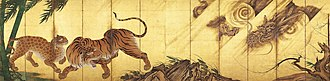Byōbu - Pair of screens with tigers and dragon by Kanō Sanraku, 17th century, each 1.78 x 3.56 metres, displayed flat, which they would not be in use.
