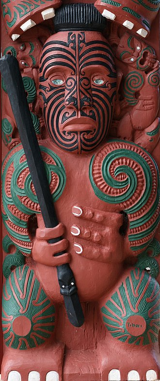 Ngāti Awa - Carving representing Tihori, ancestor of the Māori tribe Ngāti Awa of Bay of Plenty, New Zealand