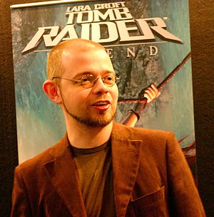 Tomb Raider - Toby Gard, a key creative figure for the series, at the 2005 Electronic Entertainment Expo.