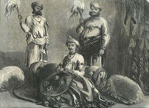 "Tukoji Rao Holkar - Tookajee Rao Holkar II, Indore, from a drawing by Mr. W. Carpenter, Jun.,"" from the Illustrated London News, 1857"