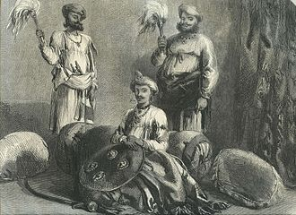 "Tukoji Rao Holkar - Tookajee Rao Holkar II, Indore, from a drawing by Mr. W. Carpenter, Jun.,"" from the Illustrated London News, 1857"