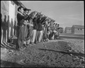 Topaz, Utah. A Boy Scout band in full regalia, greeted the evacuees from Hawaii, when they arrived . . . - NARA - 536985.tif