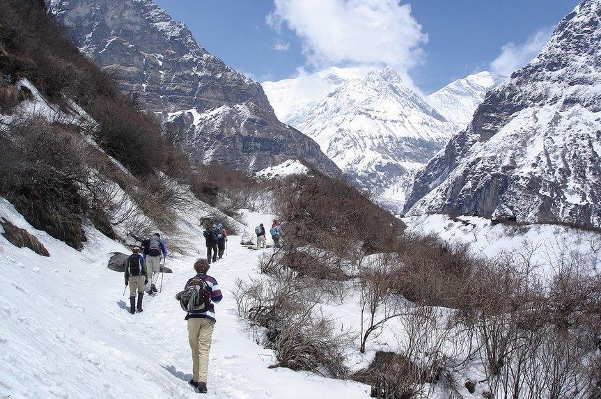 Tourists trekking in Annapurna region