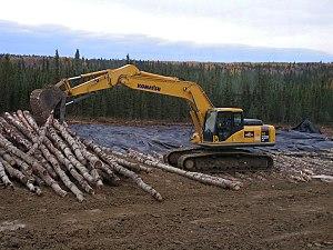Muskeg - Image: Tracked Excavator placing Corduroy