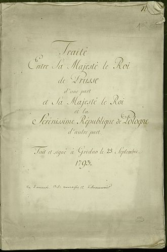 Second Partition of Poland - Treaty of Grodno 1793 between Prussia and Poland (a French edition), later referred to as the Second Partition Treaty.