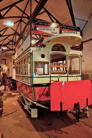 Heaton Park Tramway - Horse-drawn tram Manchester No. L53 in the depot.