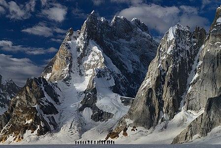 Trekkers on their way towards Snow Lake, Karakoram, Pakistan.