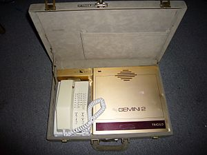 Improved Mobile Telephone Service - IMTS mobile phone in a briefcase.