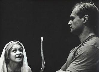 The Trojan Women - Willow Hale (Hecuba) and Sterling Wolfe (Talthybius) in The Trojan Women, directed by Brad Mays at the ARK Theatre Company in Los Angeles, 2003
