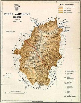 Turóc County - Contemporary map of Turóc county