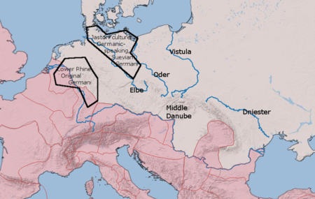 "The two main types of ""Germani"" in the time of Julius Caesar. (Approximate positions only.) Later Roman imperial provinces shown with red shading. On the Rhine are Germania Inferior (north) and Germania Superior (south). Two types of Germani.png"
