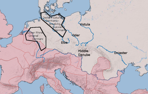 "The two main types of ""Germani"" in the time of Julius Caesar. (Approximate positions only.) Later Roman imperial provinces shown with red shading. On the Rhine are Germania Inferior (north) and Germania Superior (south)."