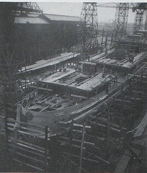 SS Tynwald (1936) - Tynwald under construction.
