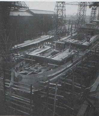 SS Tynwald (1936) - Tynwald under construction.