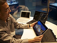 USB co-inventor Ajay Bhatt with detachable touch enabled PC.jpg